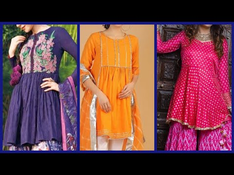 new-stylish-knee-length-short-frock-kurti-designs-&-stitching-styles-2020-|-short-frock-design-ideas
