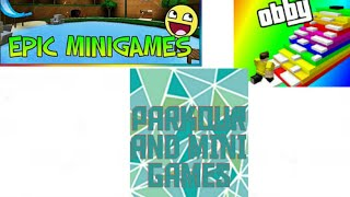playing roblox parkour and mini games