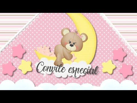 Convite animado chá de bebê ursinha marrom e rosa by Pamella Mell