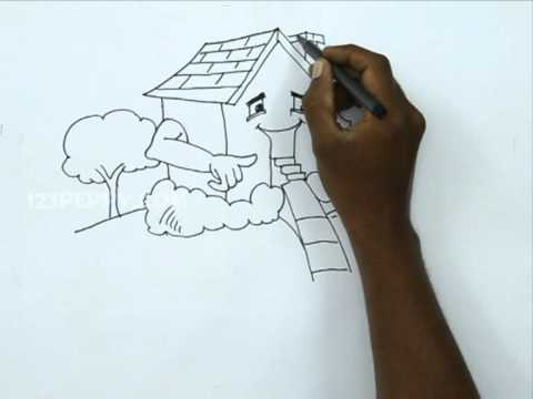 How To Draw A Happy House Youtube
