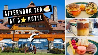 We had AFTERNOON TEA at the 5-star LUXURY Llao Llao Hotel in Bariloche, Argentina! ?