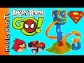 Angry Bird Slingshot Slamway! SUPERMAN SPIDERMAN Hero Crash HobbyKidsTV