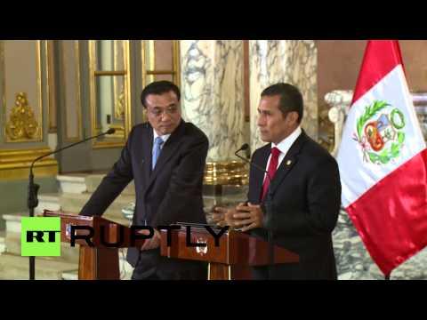 Peru: China's Li Keqiang discusses transcontinental railroad with President Humala