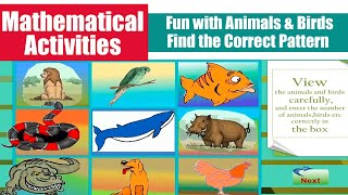 Mathematical Activities For Ages 3 to 5 | Fun with Animals \u0026 Birds , Find the Correct Pattern