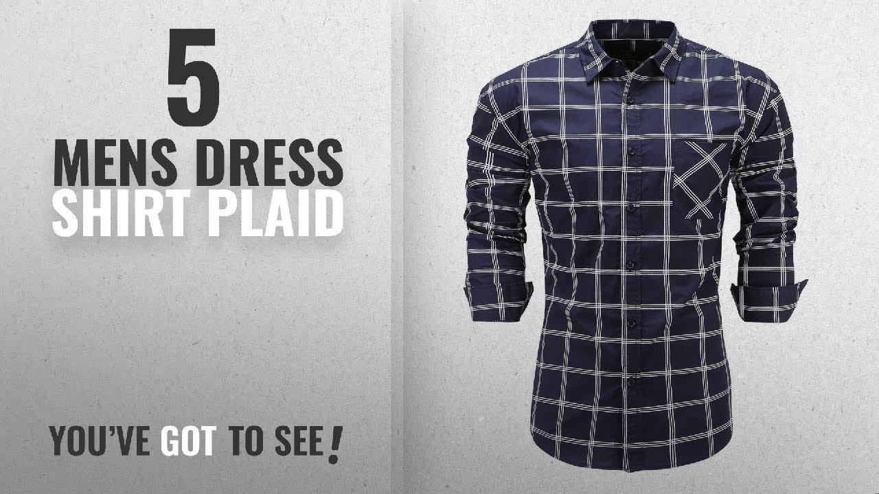 Top 10 Mens Dress Shirt Plaid Winter 2018 Emiqude Mens 100