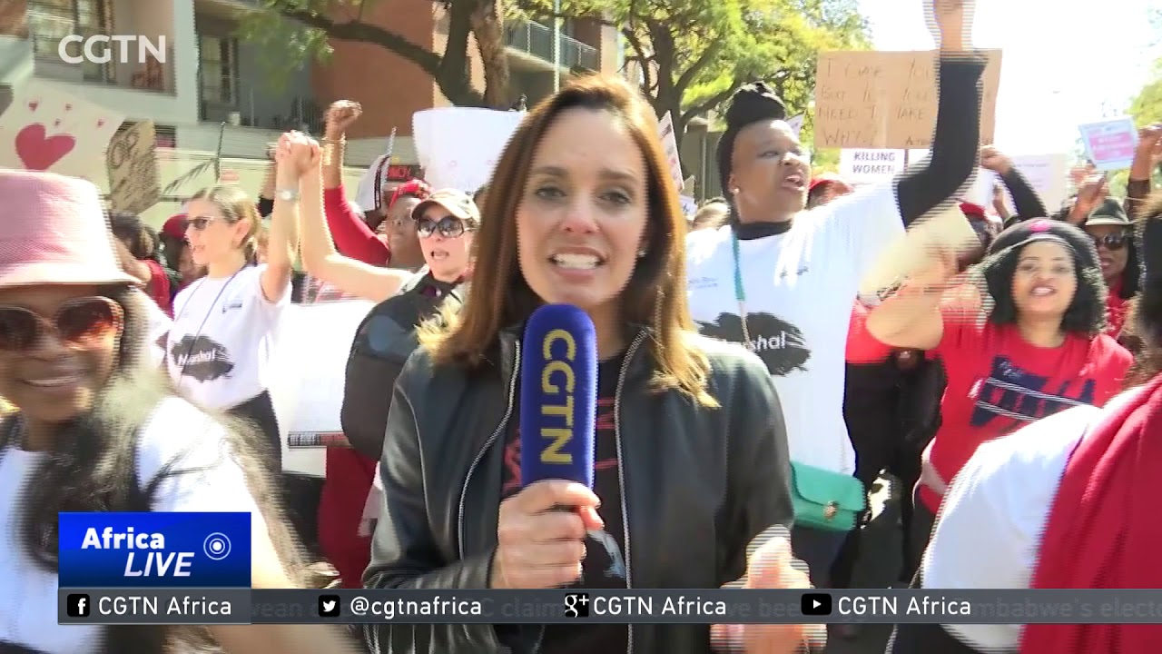 South African women march in thousands to call for an end to gender-based violence, abuse.