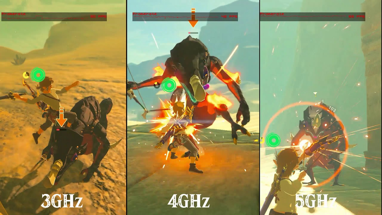 CEMU - Zelda Breath of the wild 3ghz-4ghz-5ghz 60fps pack comparison