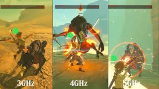 CEMU - Zelda Breath of the wild 3ghz-4ghz-5ghz 60fps pack comparison