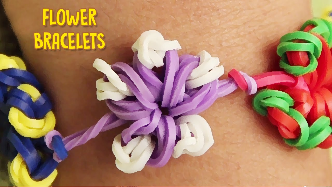 How To Make Rubber Band Bracelets Without Loom Easy Flower Rainbow Bracelet Designs You