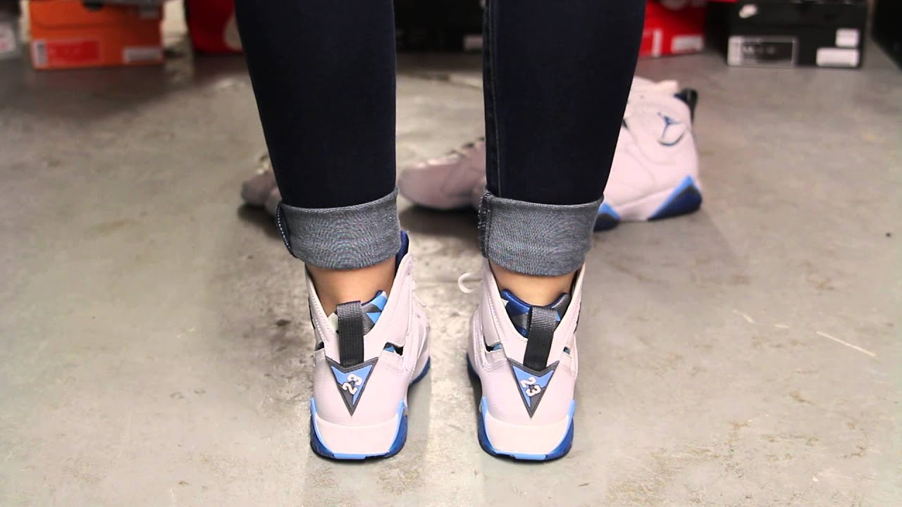 new concept 1ef9f 7b0df ... italy ladies air jordan 7 retro french blue on feet video at exclucity  youtube c6d7a 593a6