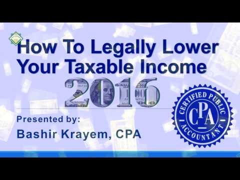 Tax Seminar: How To Legally Lower  Your Taxable Income by Bashir Krayem, CPA