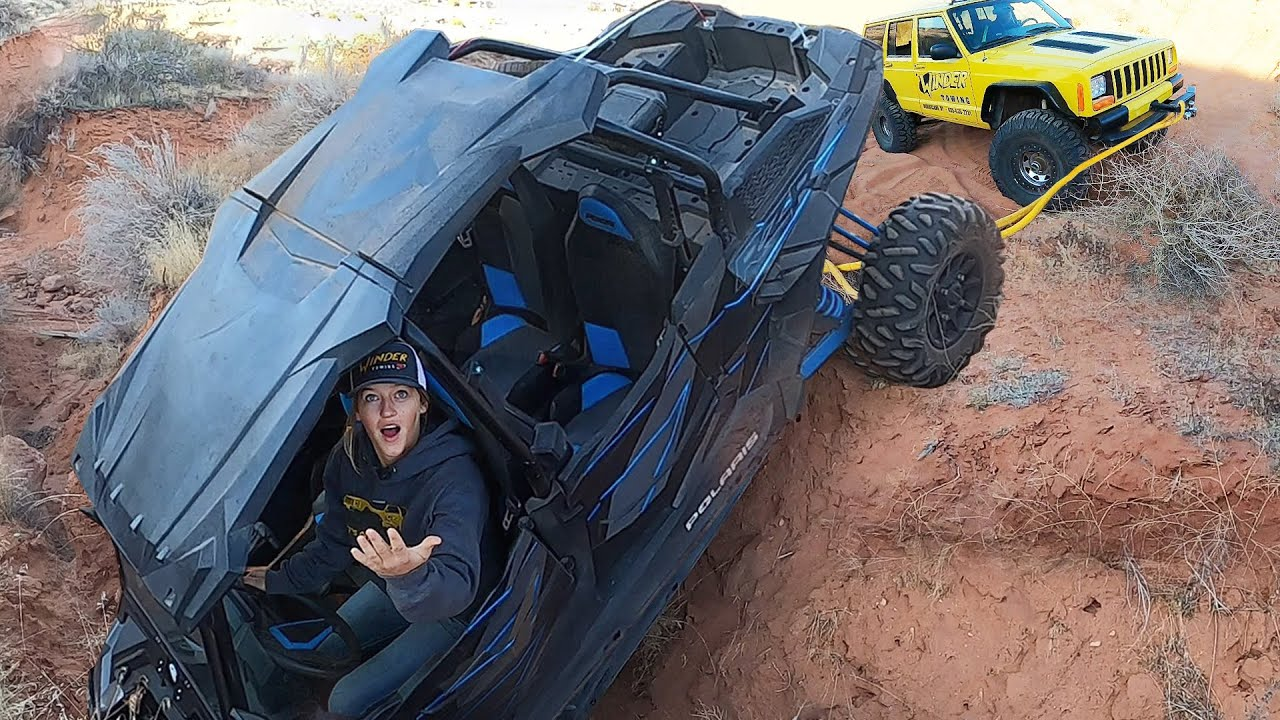 RZR Crashes Hard Head First Into A Ditch