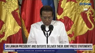 Sri Lankan President and Duterte deliver their joint press statements Part 2