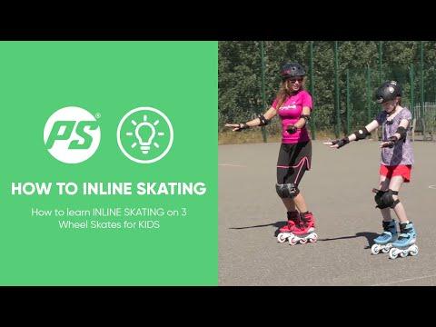 How to learn INLINE SKATING on 3 Wheel Skates for KIDS - BASICS - Powerslide Swell Triskates