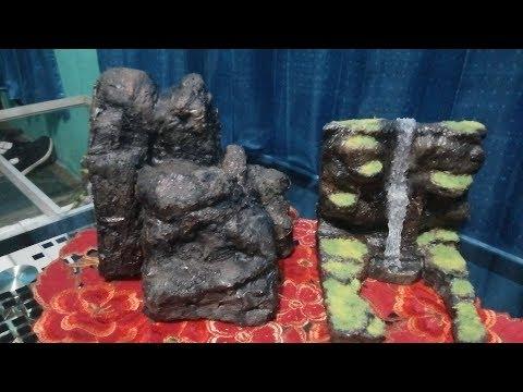 Tutorial membuat batu replika hiasan aquarium