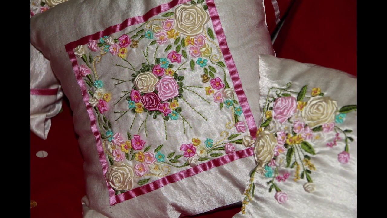 Bed sheet designs hand embroidery - Ribbon Work On Bed Sheet And Wallmate