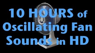10 Hours of Oscillating Fan Sound HD White Noise for Sleep ALL BLACK - NO LIGHT