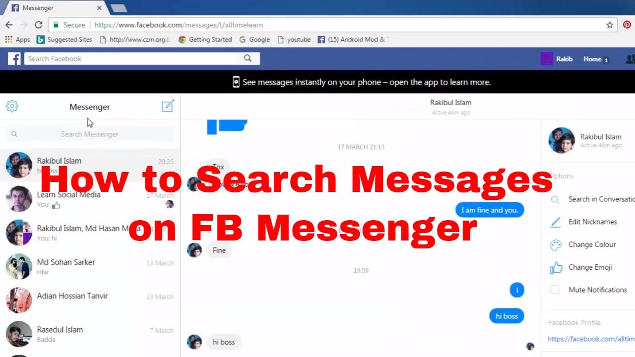 facebook messenger wont load old messages