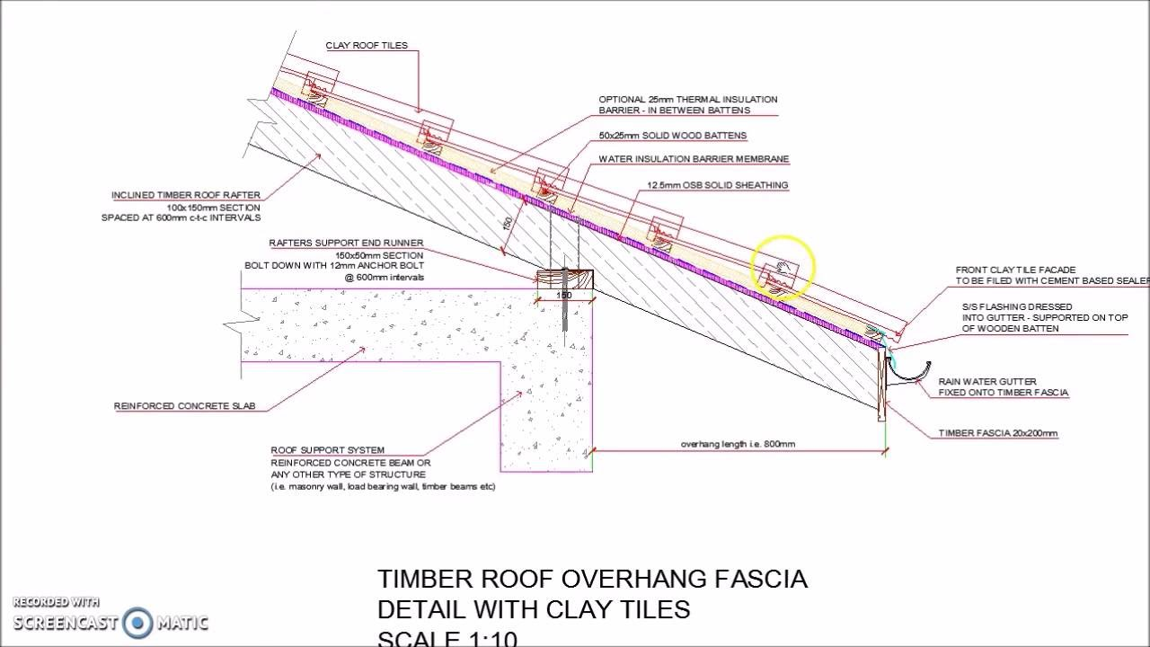 Timber Roof Overhang Fascia Detail With Clay Tiles Youtube