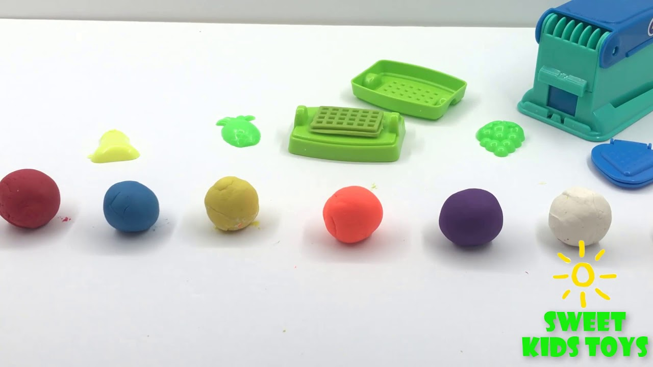 Making a Big Waffle with  Colorful Play Dough - Kid Songs
