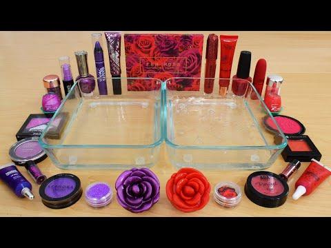 Purple vs Red Rose - Mixing Makeup Eyeshadow Into Slime ASMR 249 Satisfying Slime Video thumbnail