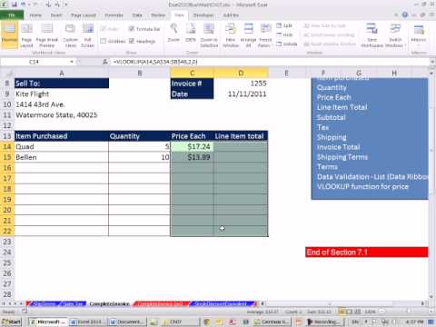 Excel 2010 Business Math 61: Create An Invoice In Excel - Youtube