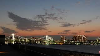 豊洲市場「屋上緑化広場」からの夜景。湾岸エリアのレインボーブリッジ...