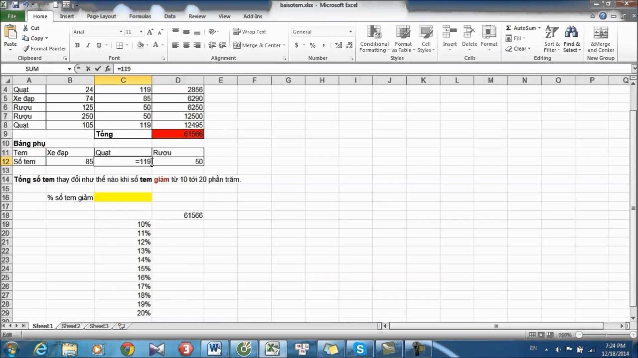 TIN HỌC ỨNG DỤNG TRONG KINH DOANH 1: DATA TABLE