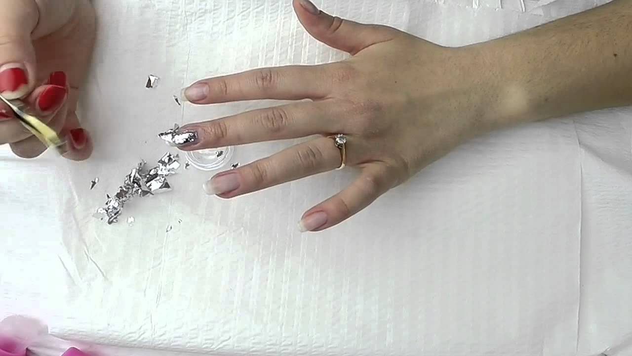 Silver Leaf Decoration How To Use Silver Leafnails Decoration With Silver Leaf Youtube
