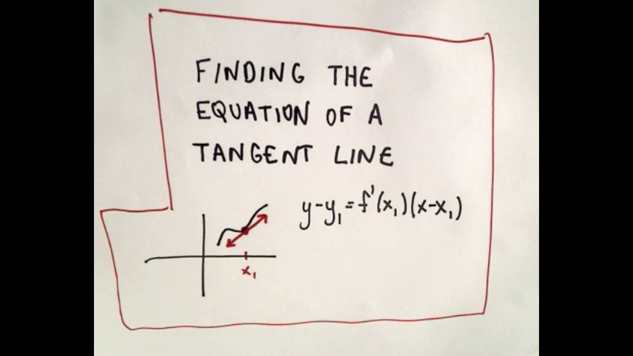 Finding The Equation Of A Tangent Line Youtube