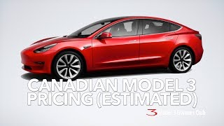 Canadian Model 3 Pricing (ESTIMATED)