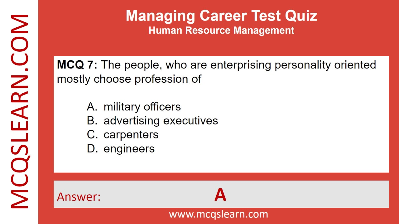 Managing Career Test   MCQsLearn Free Videos  Career Test Free