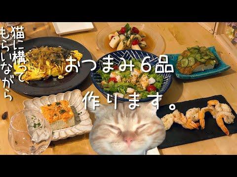 【料理動画♯33】猫にかまってもらいながら、おつまみ6品作ります【とん平焼き】【猫動画】