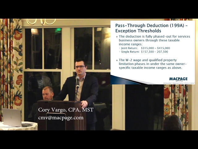 2018 Tax Reform – Pass Through Entities Deduction