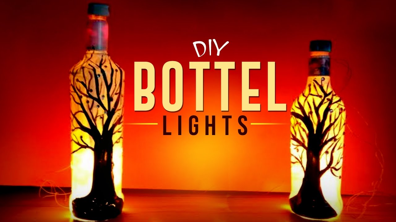 diy beautiful bottle lights for christmas easy to make bottle lights craft basket youtube