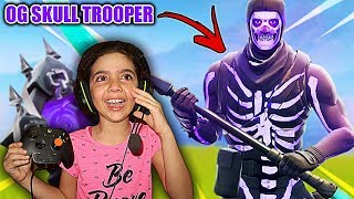 SURPRISING MY LITTLE SISTER WITH PURPLE SKULL TROOPER ACCOUNT!! *SHE STARTED CRYING* (FORTNITE!!)