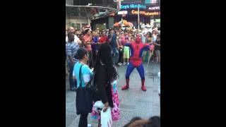 Time Square Spider-Man fends off haters