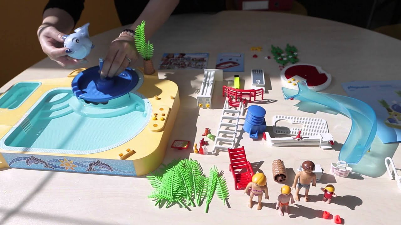 Playmobil 4858 Open Air Pool With Slide Playset Review   YouTube