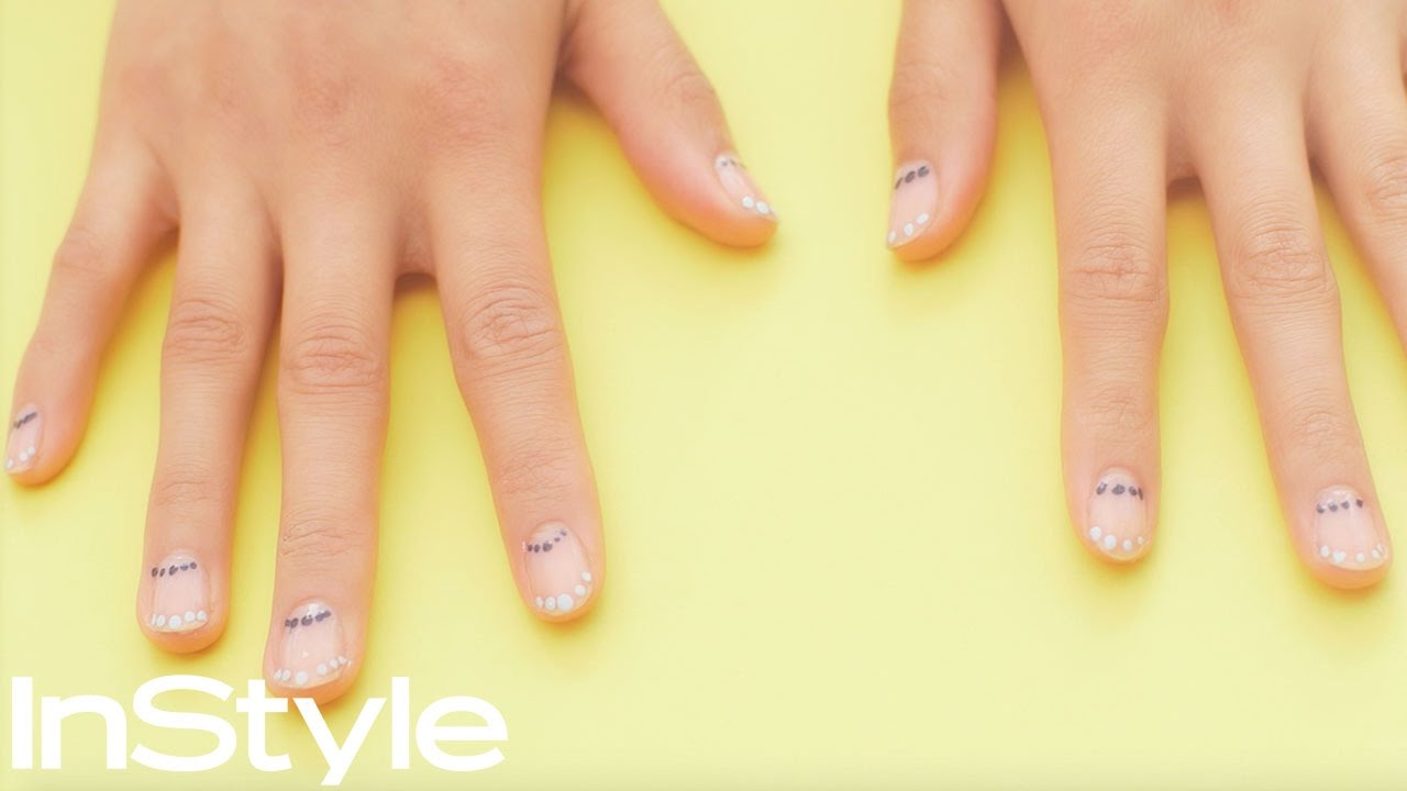 Navy Nails- Dot Manicure with Blue Hues - YouTube