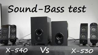 Logitech X-540 vs Logitech X-530 sound bass test