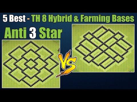 Clash of Clans - Top 5 Best Town hall 8 Defense Th8 Farming Base & Hybrid Base Anti 3 Star