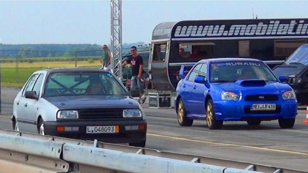 Wrx Sti Race >> CRAZY VW Vento VR6 Turbo VS Subaru Impreza WRX STI 1/4 Mile Drag Race Viertelmeile Rennen Sound ...