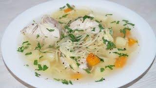Простой легкий куриный суп с домашней лапшой)Простой рецепт