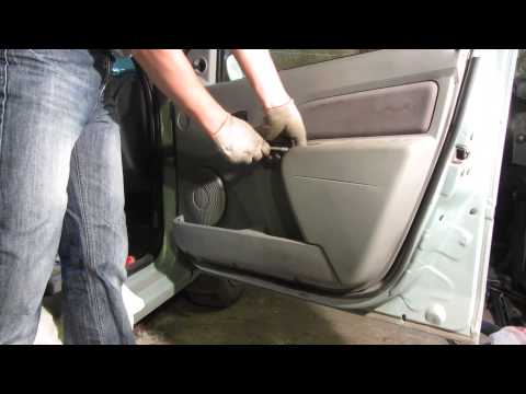 Как снять обшивку водительской двери рено логан