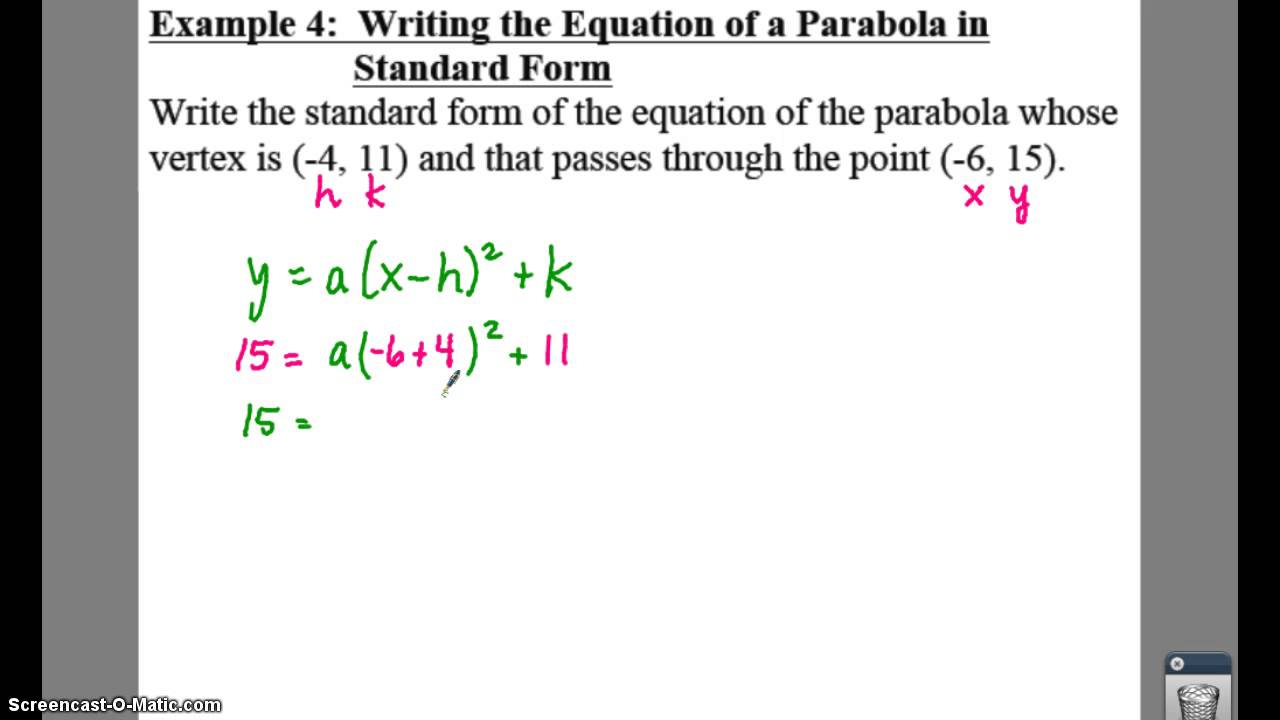 Pre calculus 21 quadratic functions lessons tes teach pc 21 notes example 4 write an eqn in standard form falaconquin
