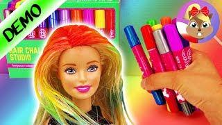 BARBIE u FRYZJERA | Nowy świecący KOLOR WŁOSÓW z Girl Zone Hair Chalk Studio - tęczowe włosy