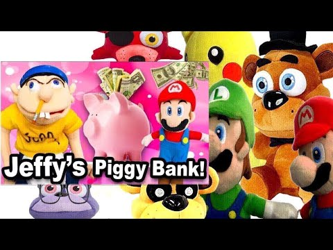 SML Movie: Jeffy's Piggy Bank! Mario and Luigi Reaction (Freddy,Foxy,GoldenFreddy,Pikachu,MrBonnie)