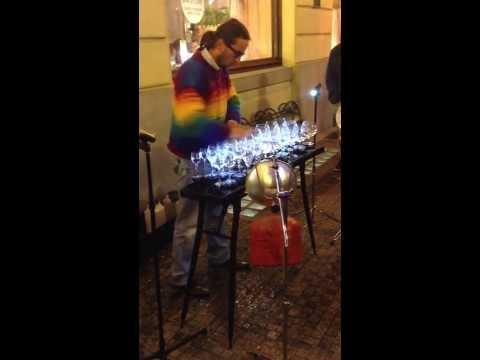 Classical music on wine glasses  AMAZING PRAGUE