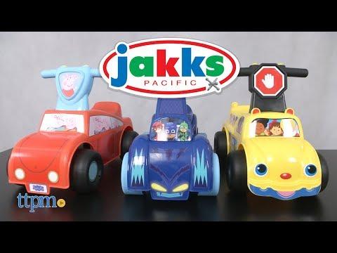Peepa Pig & PJ Masks Cat-Car Push 'N Scoot, Little People School Bus Ride-On From Jakks Pacific