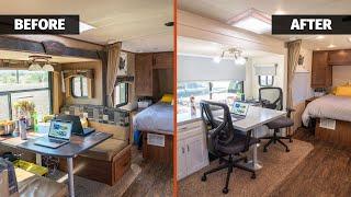 Before & after: CUSTOM desk + full reveal!   RV Remodel Part 3
